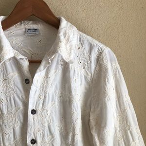 CP Shades embroidered corduroy button down shirt